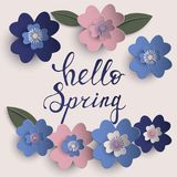 Floral paper art  card. Floral paper art card template in pastel colors with hello spring inscription  eps10 Royalty Free Stock Photos