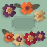 Floral paper art  card. Floral paper art card template in bright colors  eps10 Stock Photography