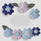 Floral paper art  card. Floral paper art card template in pastel colors  eps10 Royalty Free Stock Images