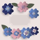 Floral paper art  card. Floral paper art card template in pastel colors  eps10 Stock Image