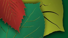 Tree leaves for HD video backdrop or others. Paper cut style. Vector royalty free stock images
