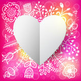 Floral and Paper Heart background Royalty Free Stock Image
