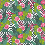Floral paradise hand drawn tropic hibiscus flower with palm leaves on the geometric background. Seamless vector pattern. Royalty Free Stock Photo