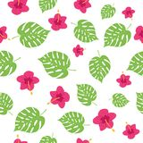 Floral paradise tropic seamless pattern. Floral paradise hand drawn tropic seamless pattern. Vector illustration Stock Image