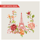 Floral Paris Graphic Design - for T-shirt, Fashion, Background Stock Photography