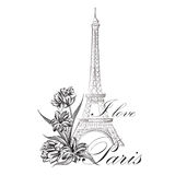 Floral Paris Illustration Famous Paris landmark Eiffil Tower. Stock Photo