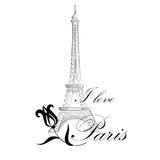 Floral Paris Illustration Famous Paris landmark Eiffil Tower. Royalty Free Stock Photography