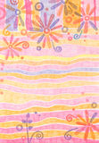 Floral Pastel Background. Created with crayons. Has a textured surface Stock Images