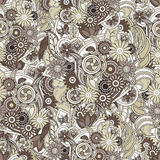 Floral pastel brown background. Seamless texture with flowers an Royalty Free Stock Image