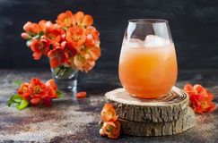 Floral pastel peach and pink brunch cocktail garnished with quince flowers over old rustic background.  Royalty Free Stock Images