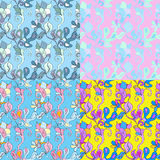 Floral  pastel seamless patterns set Royalty Free Stock Photography