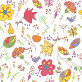 Floral pastel seamless wallpaper with birds royalty free illustration