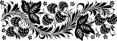 Floral patern. Floral, ornament, Russian pattern, Strawberry Royalty Free Stock Images