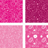 Floral pattern. 4 different cute floral patterns Stock Photo