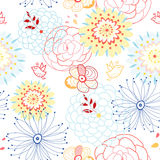 Floral pattern. Colored floral pattern with birds on a white background Stock Photography