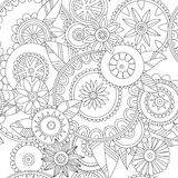 Floral pattern. Black-and-white decorative background Stock Photos