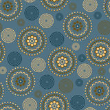 Floral pattern. Seamless circle with brown and blue Royalty Free Illustration
