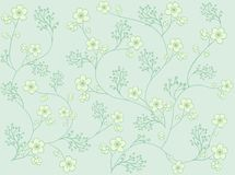 Floral pattern. In green and yellow.  Desaturated colours. If you download the aditional format, background and flowers are in separate layers, so you can Royalty Free Stock Images