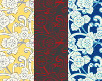 Floral pattern in 3 color variations royalty free stock photo