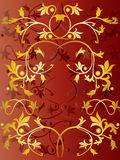 Floral Pattern. Vector floral pattern on red background Royalty Free Stock Images