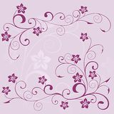 Floral pattern. Composition from violet flowers and a pattern from leaves on a lilac background Stock Photo