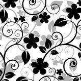 Floral pattern. Black floral pattern on a white background Stock Photo