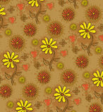 Floral pattern. Yellow flowers, butterfly, heart with drop Stock Image