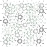 Floral pattern.  Abstract asymmetric ornament, blue and purple flowers on white Royalty Free Stock Image