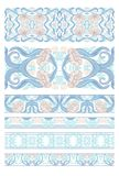 Floral pattern vector illustration. Floral pattern in art nouveau style, vintage, old, retro style. Set of decorative elements for design. Colored vector royalty free stock image