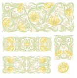 Floral pattern vector illustration. Floral pattern in art nouveau style, vintage, old, retro style. Set of decorative elements for design. Colored vector stock image