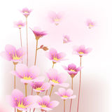 Floral pattern background. Illustration of flying pink flowers Royalty Free Stock Photography