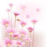 Floral pattern background. Illustration of flying pink flowers stock illustration
