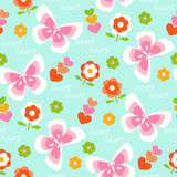 Floral pattern background with butterflies Stock Photos