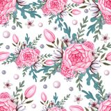 Floral Pattern Background with pink peony and cotton. vector illustration