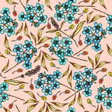 Floral pattern with beautiful flowers forget-me-not and leaves. Summer pattern with colorful plants. Seamless colorful royalty free illustration
