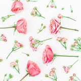 Floral pattern of beautiful red or pink roses and buds on white background. Flat lay, top view. Royalty Free Stock Images