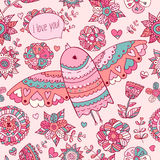 Floral pattern with bird. Valentine's background with text I love you Stock Photo