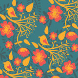 Floral pattern with birds Royalty Free Stock Photo