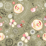 Floral pattern with birds Stock Photos