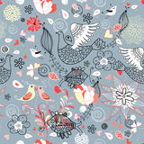 Floral pattern with birds. Seamless red floral pattern with birds and fishes on a blue background Royalty Free Stock Photography