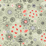 Floral pattern with birds Stock Image