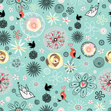Floral pattern with birds Royalty Free Stock Image