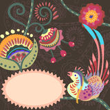 Floral pattern with birds. Abstract background for text with folk flowers and strange birds Stock Photos