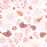 Floral pattern with birds in love Royalty Free Stock Image