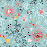 Floral pattern with birds in love Stock Photography