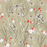 Floral pattern with birds in love. Seamless floral pattern with birds in love on a brown backgroundrn Royalty Free Stock Photos