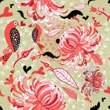 Floral pattern with birds in love Stock Images
