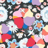 Floral pattern with birds. Seamless colorful summer pattern with birds on a dark background Stock Photos