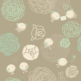 Floral pattern with birds. Vector vintage floral pattern with birds Royalty Free Stock Photo
