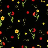 Floral pattern on a black seamless background of hohloma. Floral pattern on a black seamless background hohloma Royalty Free Stock Image